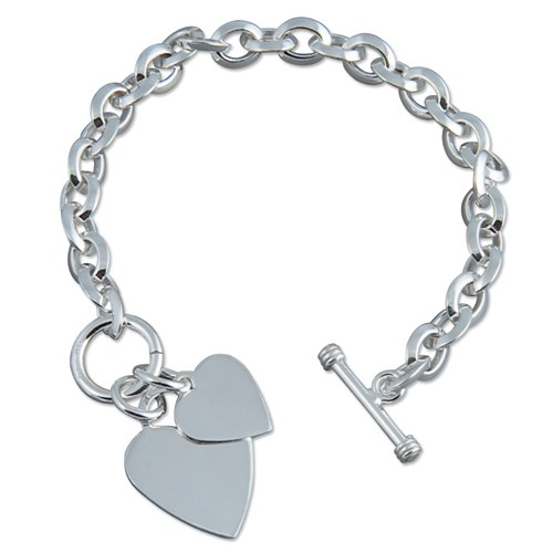 SILVER PLAIN DOUBLE HEART BRACELET R155220
