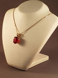 Large 10ct RUBY pendant set in 9ct gold