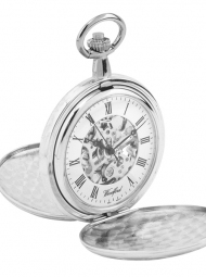Silver skellington pocket watch