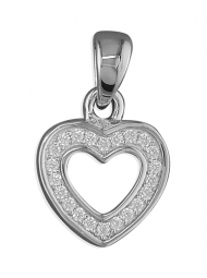 Sterling Silver & Cubic  zirconia heart pendant on a silver 16