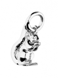 Sterling Silver Shiny Squirrel pendant on an 18