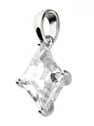 Sterling Silver Pendant Diamond shaped cubic zirconia on plain bale
