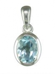Sterling Silver Pendant Oval blue topaz on a silver chain