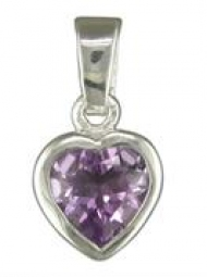 Sterling Silver Amethyst heart Pendant on an 18