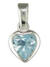 Sterling Silver Blue Topaz heart Pendant on an 18