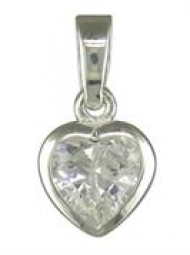 Sterling Silver Cubic Zirconia heart Pendant on an 18