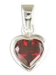 Sterling Silver Garnet heart Pendant on an 18