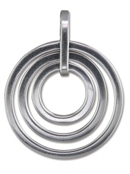 A large Sterling Silver Concentric rings design pendant on a 20