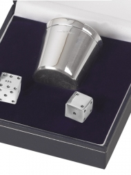 pair of silver dice and shaker set