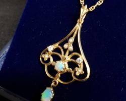 Opal and Diamond Victorian design pendant in 9ct