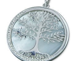 Sterling Silve Large Mother-of-pearl Tree-of-life disc with cubic zirconia rim set in sterling silver and chain