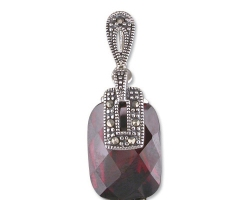Sterling Silver Marcasite-topped garnet cubic zirconia pendant on a silver chain