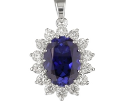 A Sterling silver pendant set with a Gorgeous man made sapphire and cz's comes on a silver chain