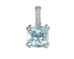 Sterling Silver Real Square blue topaz with cubic zirconia loop on a silver chain